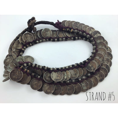 Indian Mala Necklace of Vintage Indian Coin Dangle Pendants - Rita Okrent Collection (P708)