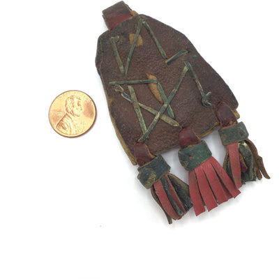 Harratine Gris Gris Leather Protective Amulet with Shells and Beads, Morocco - Rita Okrent Collection (P564g)