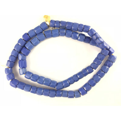 Faceted Blue Molded Matched Russian Blue Beads, Old, African Trade - AT1473
