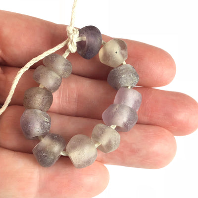 12 Rare Antique Amethyst Purple Glass Dutch Dogon Beads from Mali - Rita Okrent Collection (ANT307d)