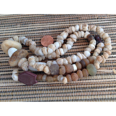 Mixed Excavated Very Old Hand-Carved Tan and Brown Agate,  Rock Crystal, and Biscuit Stone Beads, Sahara - S321g