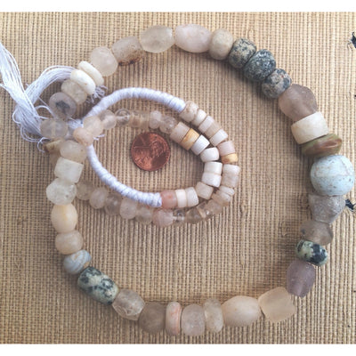 Mixed Ancient Rock Crystal, Agate and Granite Bead Strand, Mali - Rita Okrent Collection (S376)