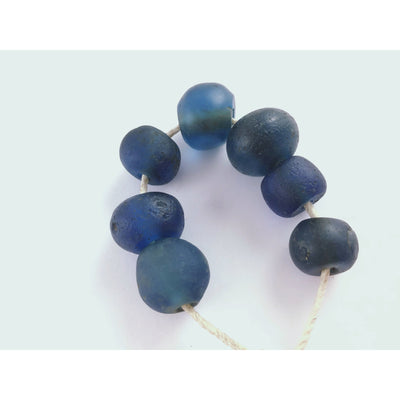 Ancient Blue Islamic Glass Beads, Strand of 7 - Rita Okrent Collection (AG148)