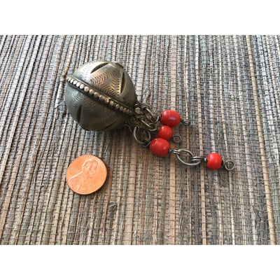 Vintage High Atlas Beads with Etching, Hanging Loops and Suspended Red Beads, Morocco - Rita Okrent Collection (ANT094gh)