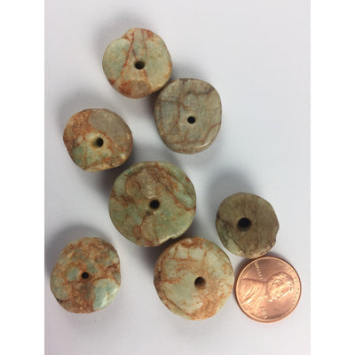 Group of 7 Ancient Amazonite Beads from Mauritania - Rita Okrent Collection (S322d)