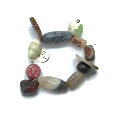 Medley of Stone Beads and Pendants with Decorated Glass Beads - Rita Okrent Collection (S225b)