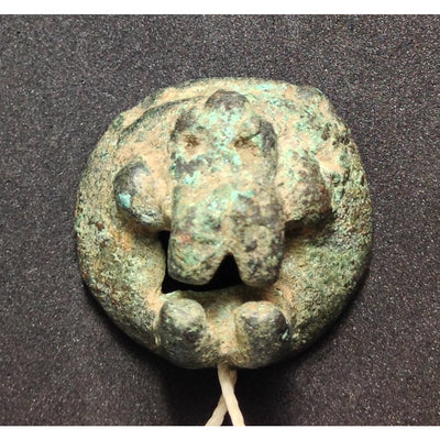 Ancient Bronze Animal Face Amulet, Egypt - AN018