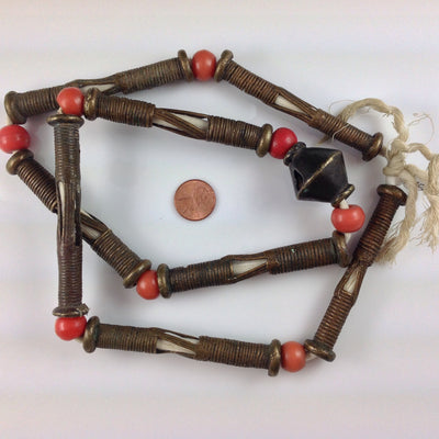 Lost Wax Brass Hair Beads with Coral Prosser Beads, Old, Niger- AT0314