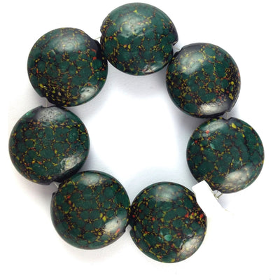 Set of 7 Matched Circular Dark Green Smooth Speckled Glass European Beads - Rita Okrent Collection (ANT396)