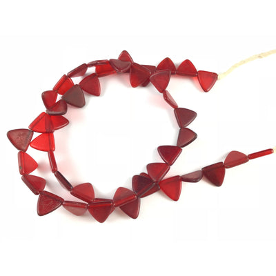 Red Triangular Matched Vintage African Wedding Beads or Pendants, Strand, Mali - Rita Okrent Collection (AT0657)