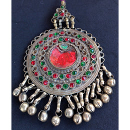 Antique Circular Kuchi Afghani Pendant with Red and Green Settings and Dangles - Rita Okrent Collectinon (P109)