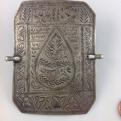 Antique Engraved Silver Pendant from Persian Bazuband, Iran - P006