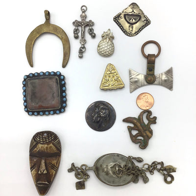 Group of 11 Mixed Vintage Pendants from Rita's Design Room - Rita Okrent Collection (P698)