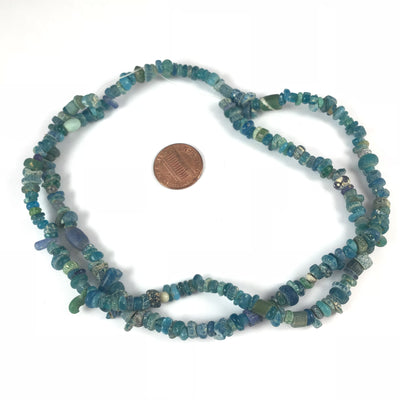 Small Very Blue Ancient Roman Glass Nila Beads from Djenne, Mali - Rita Okrent Collection (AT422s)