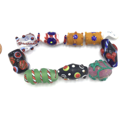 Colorful Art Glass Beads, Mixed Strand -  Rita Okrent Collection (C190a)