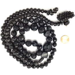 38 Inch Strand of Mixed Faceted Vintage Plastic Black Beads - Rita Okrent Collection (ANT332)