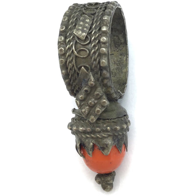 Big Old Granulated Silver Yemeni Tower Ring with Glass Setting - Rita Okrent Collection (BR119)