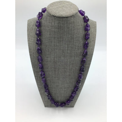 Carved Amethyst Beaded Necklace with Knots - Rita Okrent Collection (NE225)