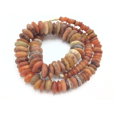Graduated Rich Hues Neolithic Period Carnelian Stone Disc Beads, Mali or Mauritania- Rita Okrent Collection (S588)
