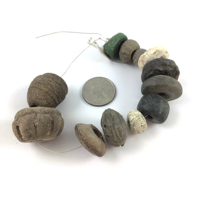 Mixed Strand of 12 Ancient and Very Old Ceramic and Stone Beads - Rita Okrent Collection (AN140b)