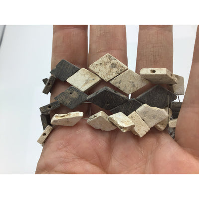 Very Old Black and White Diamond-Shaped Flat Slate Beads, Egypt - Rita Okrent Collection (AN186b)