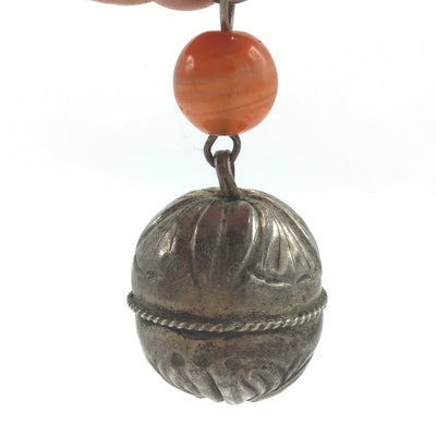 Antique Qing Dynasty Hanging Etched Ornamental Silver Bell Pendant, with Carnelian Glass Bead - Rita Okrent Collection (P564b)
