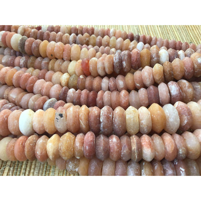 Ancient Neolithic Graduated Red, Orange and White and Pale Mixed Stone Quartz Beads, Mali - Rita Okrent Collection (S124o)