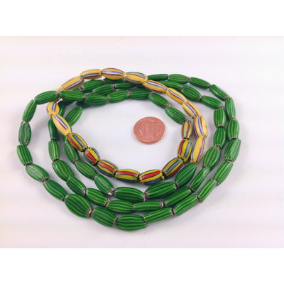 Antique Striped Melon Beads in Green, Red and Yellow from the African Trade, Ghana - AT1059a