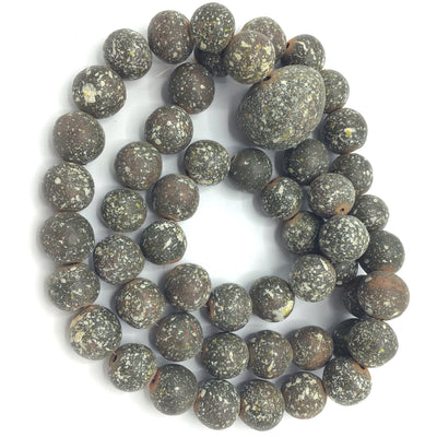 Long Strand of Round Speckled Clay Beads with Teal Hue - Rita Okrent Collection (NP018)