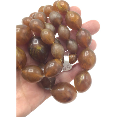 Light Brown Vintage Plastic Faux Horn Beads, Bohemia - Rita Okrent Collection (ANT271)