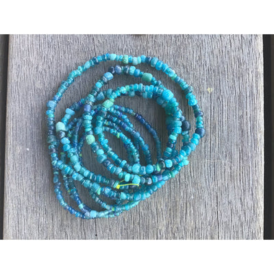 Translucent Teal Blue Aqua Antique Small Glass Nila or Indo Pacific Beads - Rita Okrent Collection (AT0651)