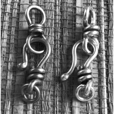 Small 18mm Sterling Silver Hook-and-Eye Clasp, Handmade, Rita's Design, Half-Dozen - CLASPS010