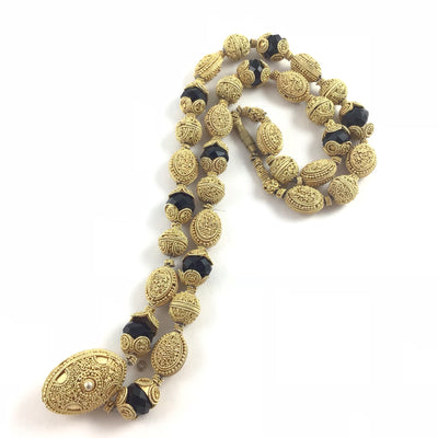 Gilt Silver Gold Washed Traditional Beaded Bridal Necklace from Mauritania - Rita Okrent Collection (NE319))