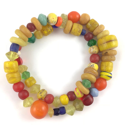 Mixed Old Yellow, Orange, Red, Green and Blue Bohemian Glass Trade Beads - Rita Okrent Collection (AT0655)