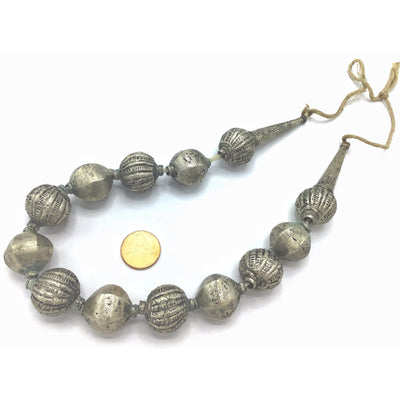 Vintage Ethnic Silver Metal Beaded Necklace - Rita Okrent Collection (ANT448)