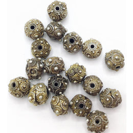 Antique Small Silver and Gold-Washed Mauritanian Beads with Granulation and Decorative Roping - Rita Okrent Collection (C460)
