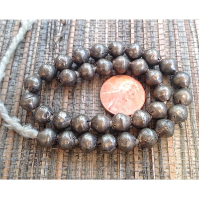 Strand of Matched Old Silver Metal Coin Silver Nicely Shaped Spacer Beads from Ethiopia - ANT311