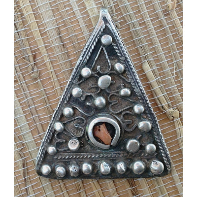 Exquisite Antique Silver and Coral Triangular Decorated Temporal Pendant from Tunisia - P570