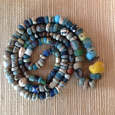 Excavated Mixed Color Roman Glass Medium Sized Nila Beads and African Trade Beads, West African Trade - Rita Okrent Collection (AT0422t)
