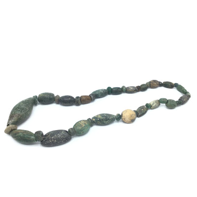Ancient Dark Green Serpentine Stone Beads from Mauritania - Rita Okrent Collection (S498)