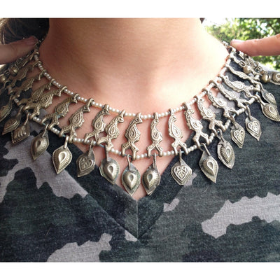 Siwa Oasis Egyptian Coin Silver and Faux Pearl Choker Necklace - C446