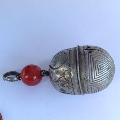 Antique Hanging Engraved Silver Bell Pendant, with Carnelian Glass Bead, China - Rita Okrent Collection (P564)