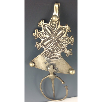 Moroccan Tuareg Silver Fibula with Etched Flower Decoration - Rita Okrent Collection (AA243)