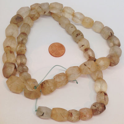 Ancient Excavated Clear Faceted Quartz Stone Beads, Mali - Rita Okrent Collection (S435c)