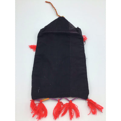 Traditional Bedouin Hand Embroidered Purse or Jewelry Bag, with Red Yarn Tassles - Rita Okrent Collection (AA287)