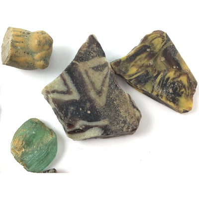 8 Mosaic and Other Glass Pieces, Very Old or Ancient, Egypt - Rita Okrent Collection (P329c)