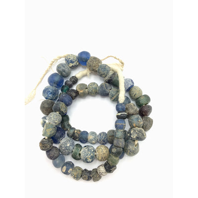 Ancient Excavated Worn Blue Islamic Glass Beads, 24 Inch Strand - Rita Okrent Collection (AG159)