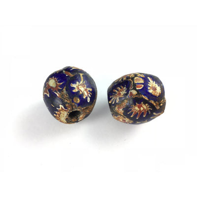 Deep Blue Large Java Glass Beads Hand Decorated with Venetian Bead Remnants - C458
