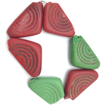 Czech Molded Glass Triangular Conus Shell Glass Beads, in Red and Green, Bohemia - Rita Okrent Collection (C564)