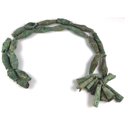 Bronze Bead Necklace with 11 Bells and Pendants and Lots of Patina, Dogon People, Mali - Rita Okrent Collection (C174h)